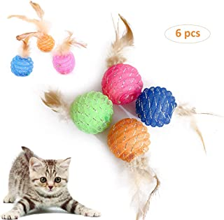 ISMARTEN Interactive Cat Ball Toys with Feather, 4 Color Plastic Cat Ball Toys with Bells for Cat Kitten Pets, Pack of 6