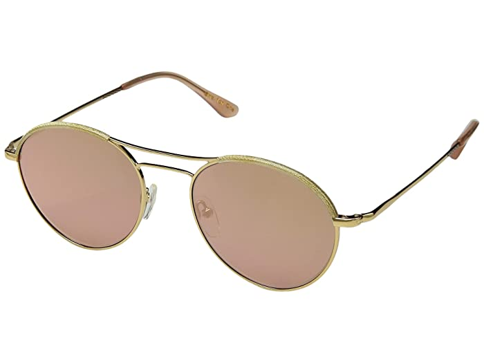 1960s Sunglasses | 70s Sunglasses, 70s Glasses TOMS Melrose Yellow GoldGold Shimmer Semi-Rim Wrap Fashion Sunglasses $90.99 AT vintagedancer.com