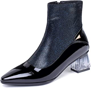 GULI Women's Martin Boots Pointed Leather Booties Thick High Heel Toe Boots and Ankle Boots