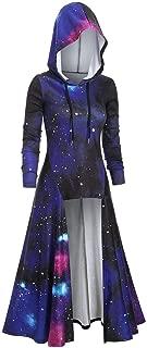 CCatyam Womens Long Sleeve Hoodie Pullover Halloween High Low Galaxy Print Cloak Renaissance Costume Blouse, NYL2