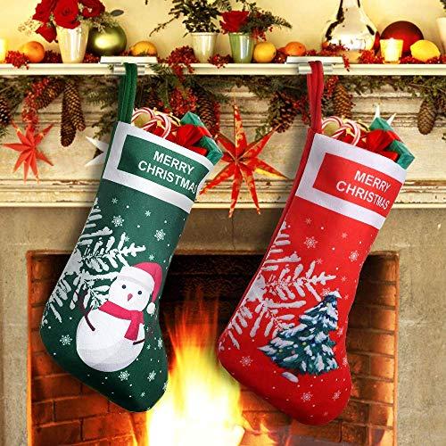 FUNME 2er Weihnachtsstrümpfe Socken Stiefel Nikolausstiefel Schneemann Rentier Schneeflock Aufhängen Nikolaus Strumpf für Süßigkeits Geschenke Partyzubehör Neujahr Dekorationen Familie - Schneemann