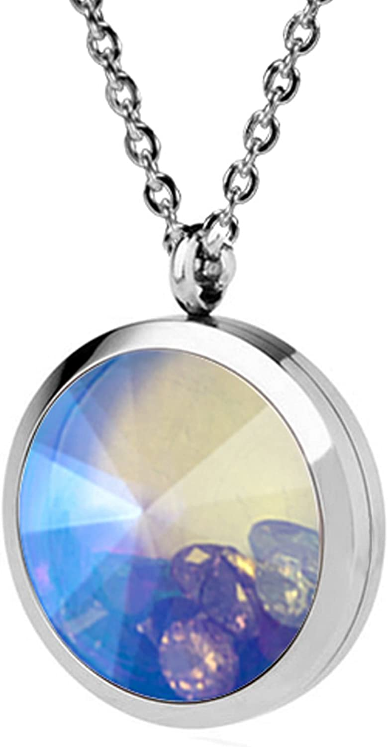 EVERLEAD Living Memory Floating Beauty products Max 64% OFF Round Pendant Charms Locket Neck