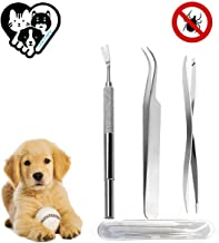 Unique'store Pinzas para garrapatas,Acero Inoxidable Pet Perros Gatos garrapatas Remover Kit,3 Premium tickremover + Caja de Almacenamiento