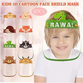DSPKONG Children's Face Bandanas Transparent Shield Cartoon Printing Lightweight Face Guard Covering Washable Safety All-Round Protection Hat with Clear Wide Visor Reusable for Kids