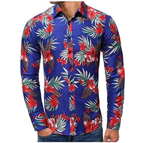 Cocila Herrenhemden Lässige Mode Böhmische 3D Blumen Druck Strand Hawaiihemd Langärmeliges Revershemd