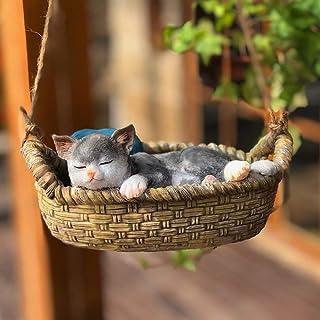 V-Trust かわいい のんびり 寝ている ゆりかご 猫 置物 掛け物 玄関小物 インテリア飾り 庭飾り 誕生日 プレゼント