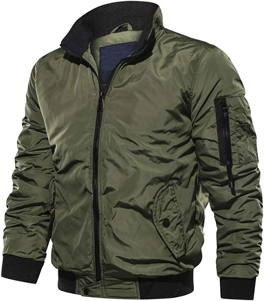 F_Gotal Mens blazer Men's Plus Size Lightweight Bomber Jacket Zipper Windbreaker Softshell Flight Bomber Jacket Coat Outwear