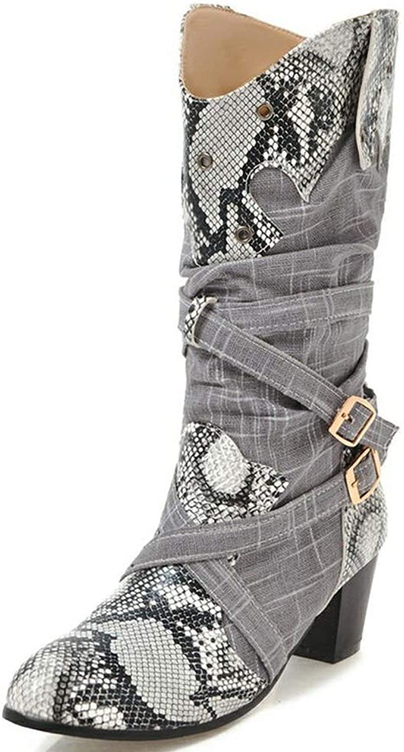 Kaloosh Women's Fashion Print Snakeskin Pointed Toe Block Heels Mid Calf Boots