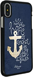 iPhone Xs Max Case,BOSLIVE Christ Quotes Bible Verse Hebrews 6:19 Hope Anchor The Soul Blue Background Design Hard Plastic Cover Anti-Scratch Protective Phone Case Compatible iPhone Xs Max 6.5