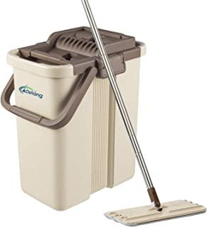 oshang Flat Squeeze Mop and Bucket – Hand-Free Wringing Floor Cleaning Mop –..
