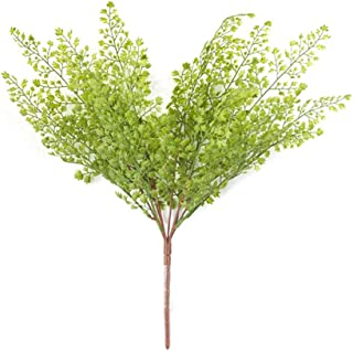 Sunrisee 2pcs Artificial Shrubs Ginkgo Leaf Artificial Flowers Plastic Plants Fake Boston Ferns Bush for House Office Garden Patio Yard Indoor Outdoor Decor, 17 Inches