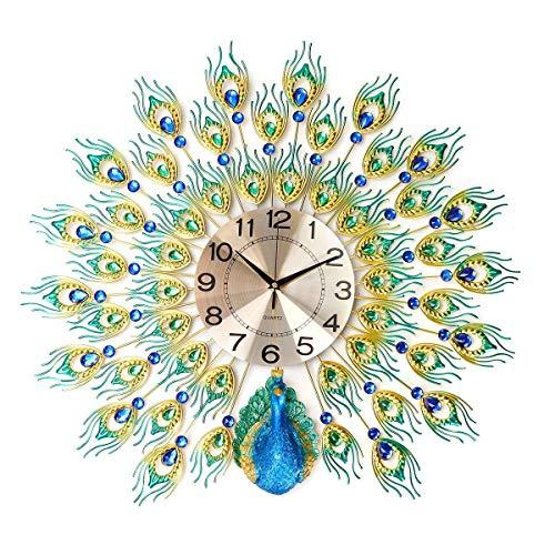 Flying elf 3D grote pauw wandklok DIY metaal kristal diamant klokken woonkamer decoratie handwerk geschenken 70x70x4 5 cm 70 * 70 cm