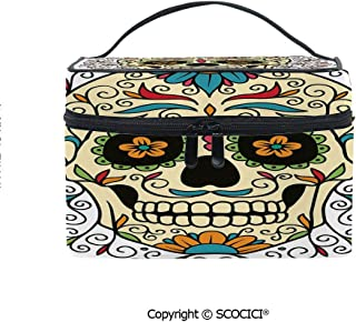 Lightweight Cosmetic Travel Bag Beauty Toiletry Bag Catrina Calavera Featured Figure Ornaments Macabre Remember the Dead Decorative Portable Multi-function Organizer