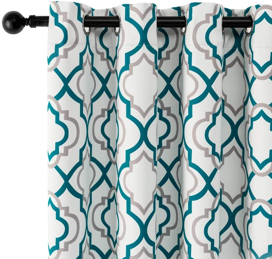 Reepow Teal free Blackout Curtains Don't miss the campaign 84 Moroccan Panels Inch Length 2