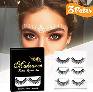909fbae82f8 3D False Eyelashes, Maksuzee Long Lashes Extensions with Natural Thick Look  Women's Make Up Handmade