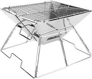 iHOVEN バーベキューコンロ バーベキューグリル 焚火台 折りたたみ式 ステンレス製 錆びにくい 1台2役 台形 BBQ グリル 2-4人用 2段階調節可能 卓上用 アウトドアコンロ 組み立て簡単 持ち運びに便利 収納ケース付き 焼肉 炭火焼 キャンプ・BBQ用品 お釣り ハイキング パーティー 31.5*31.5*21.5cm