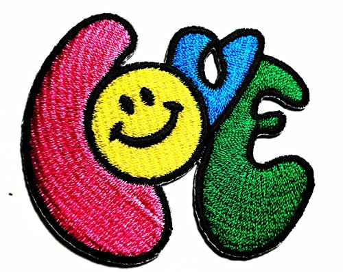 HHO Smiling Happy Smiley Face Love Hippie Patch Embroidered DIY Patches, Cute Applique Sew Iron on Kids Craft Patch for Bags Jackets Jeans Clothes