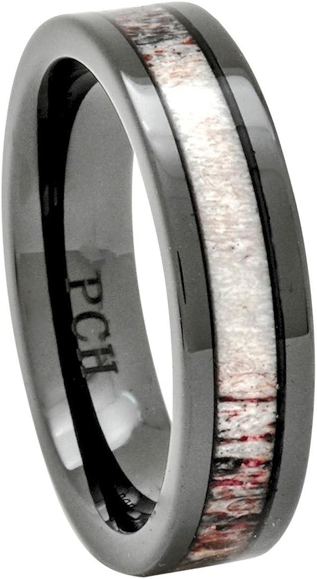PCH Jewelers Deer Antler Ring Black Ceramic 6mm Wedding Band or Gift Size 7-12