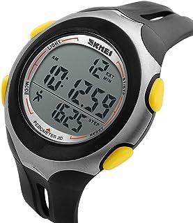 WERTY&K Reloj Deportivo para Hombre, Reloj Digital Multifuncional, Impermeable, Cuarzo Electrónico, Reloj De Pulsera, Cronógrafo con Cronómetro/Alarma / Podómetro. Mujeres, Adolescentes, Negro.