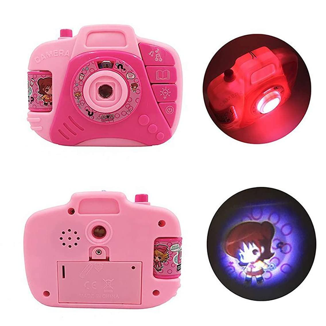 ?????Sttech1 Camera Toy Projection Simulation Cartoon Digital Camera Shockproof Children Educational Gift