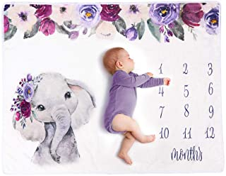 Haokaini Couverture Mensuelle de Jalon Bébé pour Garçon Ou Fille Éléphant Nouveau-Né Flanelle Accessoires Photo Toile de F...