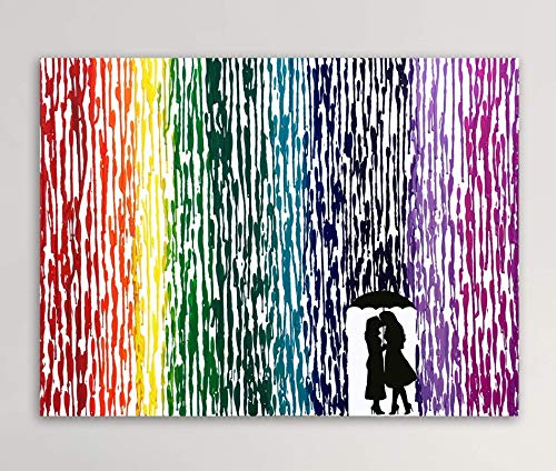 Girl In Dress Silhouette Art, LGBTQ Couple Gift, Lesbian Wedding Gift, Melted Crayon Art 16x20