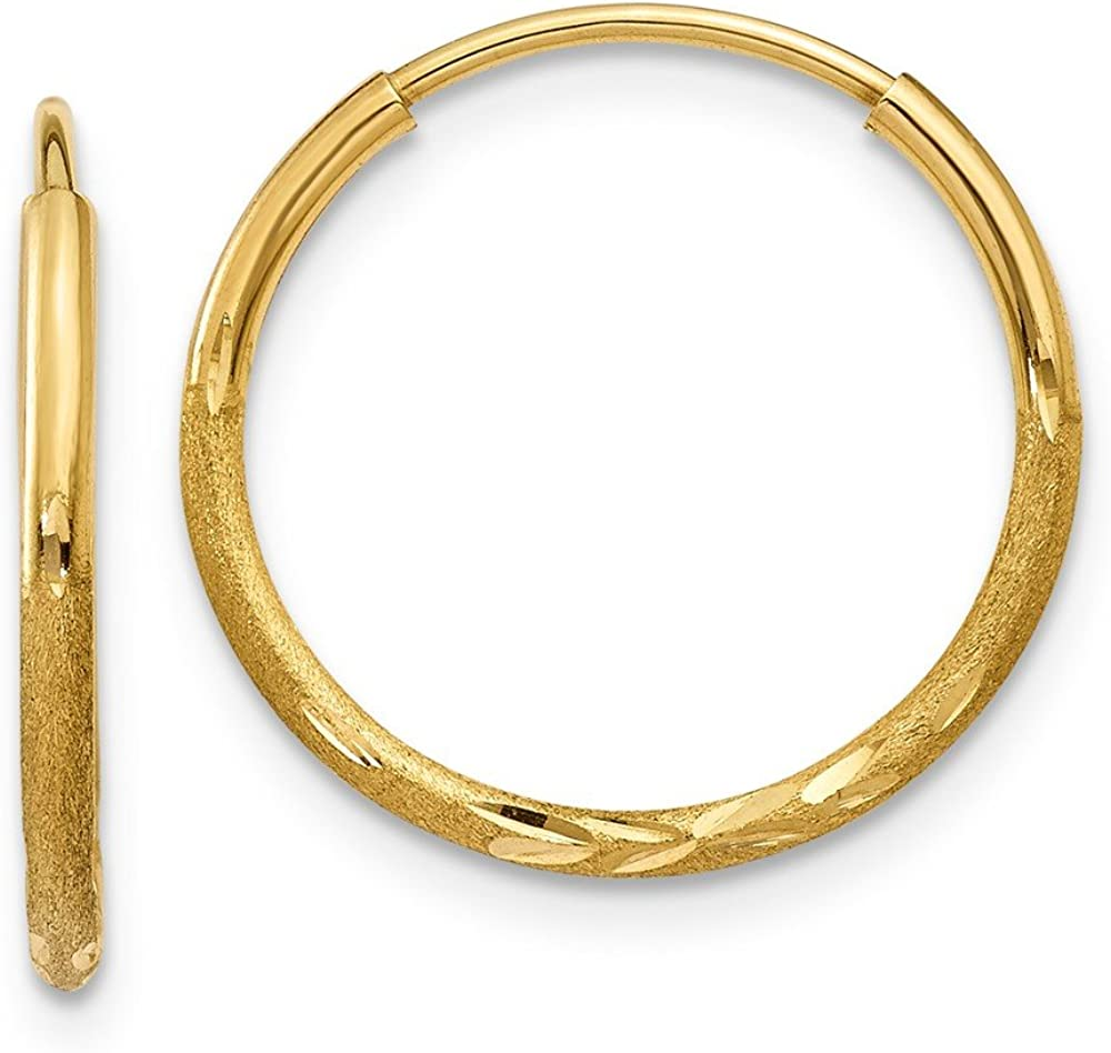 14K Yellow Gold Satin Diamond Cut 14mm Endless Hoop Earrings