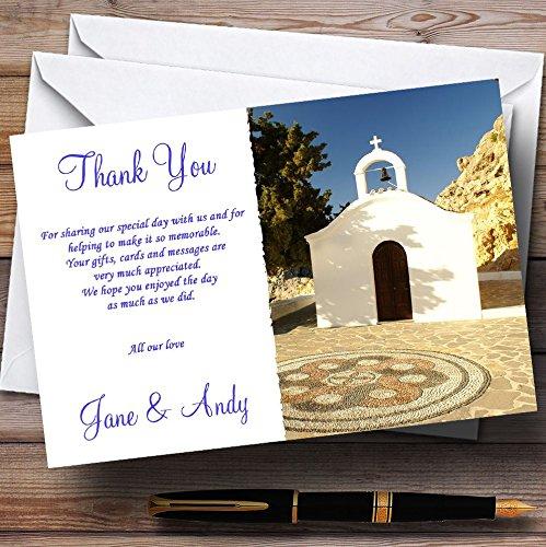 Bruiloft Dank Kaarten St Pauls Lindos Rhodos Jetting Off/Abroad Gepersonaliseerd Met Enveloppen - Elke Aangepaste Tekst Voor Elke gelegenheid 100 Cards & Envelopes