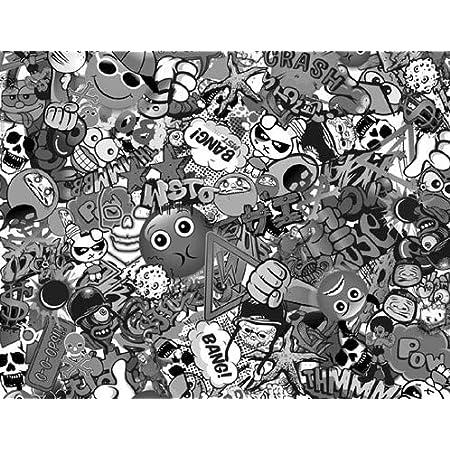 Mst Design Wassertransferdruck Wtd Folie Stickerbomb Schwarz Weiss I Cd 574 Ms 1 I 1 Meter In 100 Cm Breite I Wassertransferdruckfilm Wtp Water Transfer Printing Auto