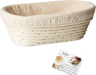 (10 x 6 x 3.5 inch) Oval Bread Banneton Proofing Basket & Liner SUGUS HOUSE Brotform Dough Rising Rattan Handmade rattan b...