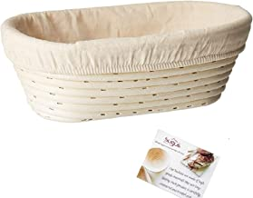 (10 x 6 x 3.5 inch) Oval Bread Banneton Proofing Basket & Liner SUGUS HOUSE Brotform Dough Rising Rattan Handmade rattan b...