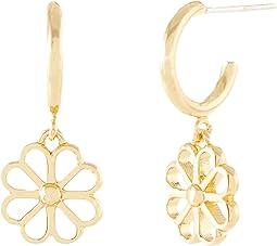 Spade Floral Charm Huggies Earrings