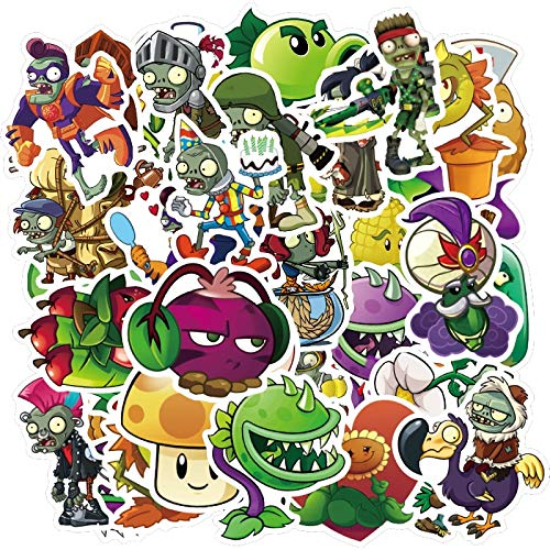 50PCS Juego Plants vs Zombies Pegatinas para DIY Laptop Guitar Decal Phone Motocicleta Casco de Coche Niños Juguete Etiqueta de Dibujos Animados