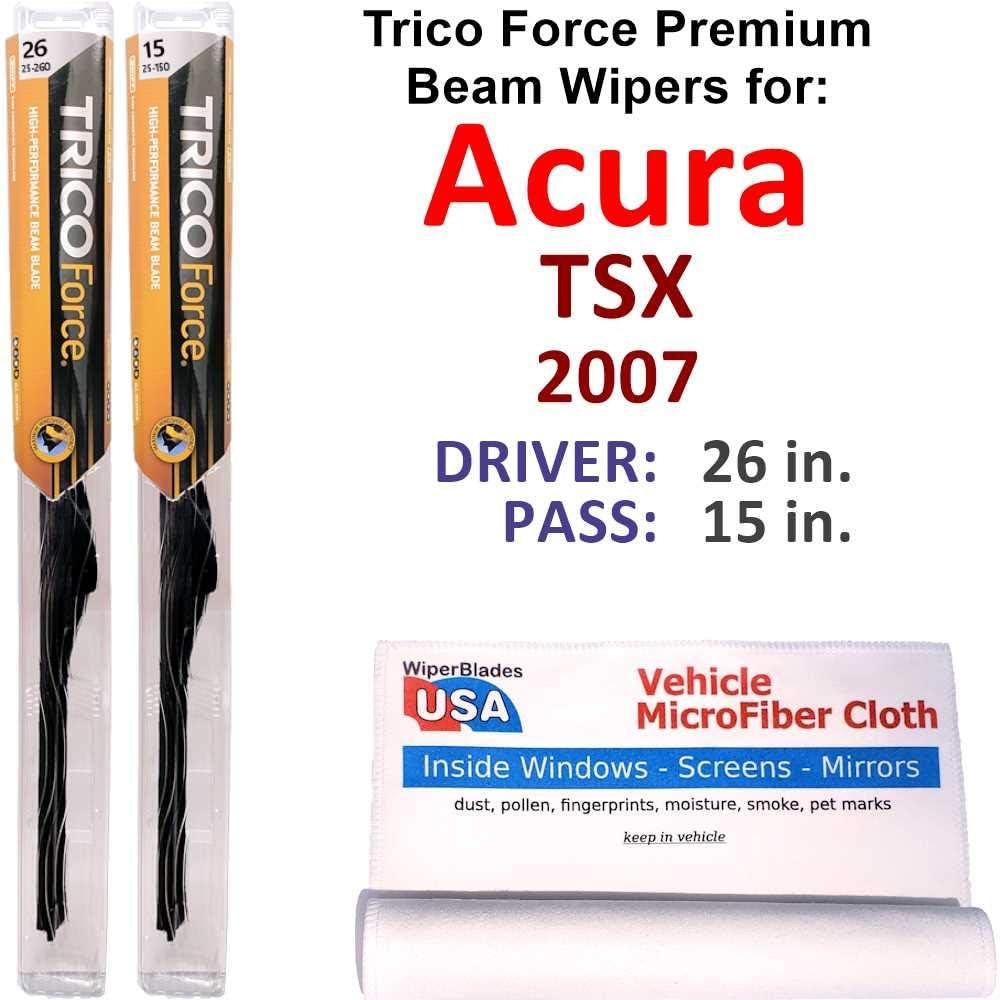 Premium Beam 実物 Wiper Blades for 2007 Set Trico TSX Acura 驚きの値段で Bea Force