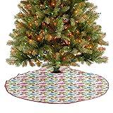 Homesonne Falda de árbol de Navidad con diseño de mariposas y corazones y flores, diseño de flores y...