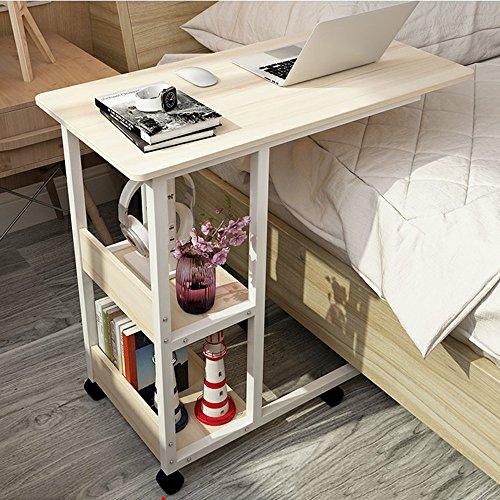 XIA Table d'ordinateur portable bois paresseux table lit table bureau ménage 80 * 40 * 69 cm 6 couleurs (Couleur : White maple color)