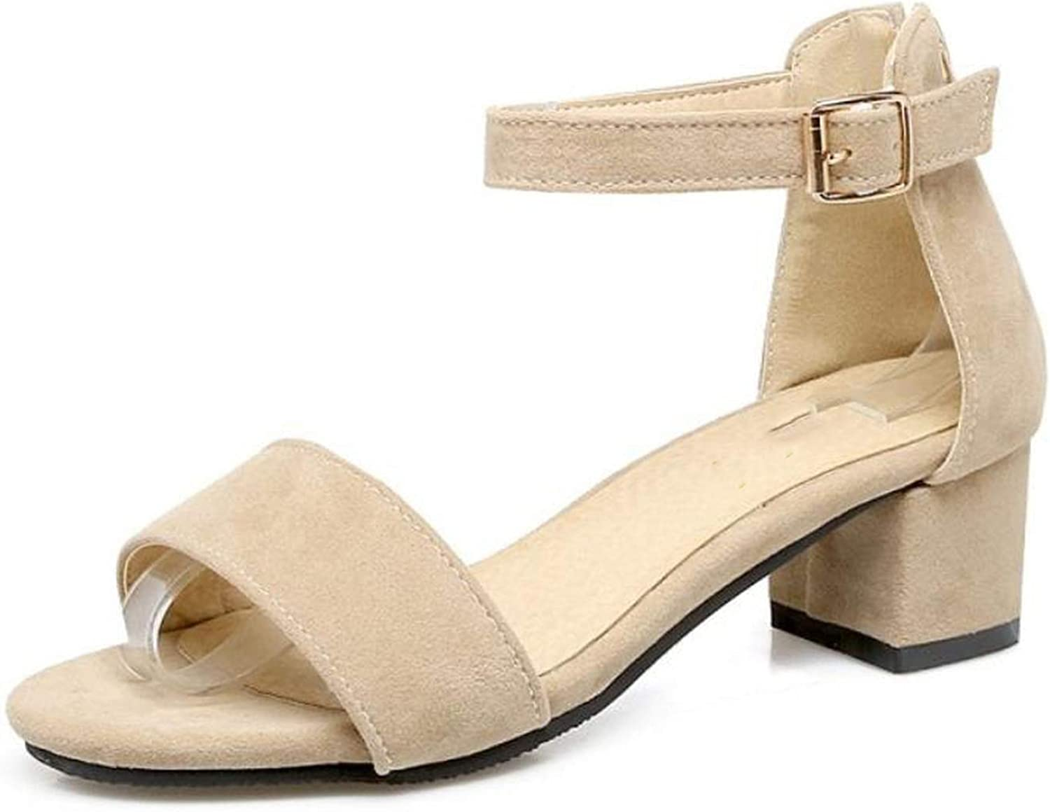 Fairly shoes Mid Heels Buckle Simply Summer shoes Fashion Casual Party Sexy shoes,Beige,13.5