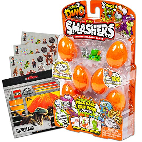 Zuru Smashers Dino Egg Series 3 Toys Set ~ 8 Pack Dinosaur Egg Surprise Toys with Bonus Stickers (Dinosaur Party Favors, Party Supplies Bundle)
