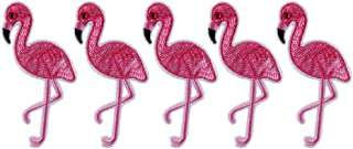 XUNHUI 5Pcs Pink Flamingo Bird Animal Iron On Patch Embroidered Applique Sewing Patch Clothes Stickers Garment DIY Apparel Accessories