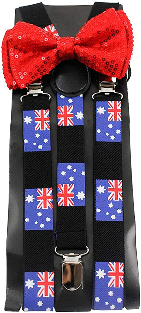 Mens UK Britain Flag Bow Tie and Suspender Set Combos