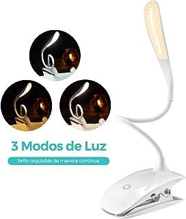 VicTsing Luz Lectura Libros Cama, Lampara Lectura Pinza USB 15 Leds con Brillo Regulable, 3 Modos de Luz, Gran Autonomía hasta 12H y Cuello 360º Flexible para Leer en Cama, Estudio, Ordenador, Blanca
