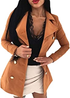 Howely Women Turn-Down Collar Double Breasted Slim Fit Fall Winter Closure Coat