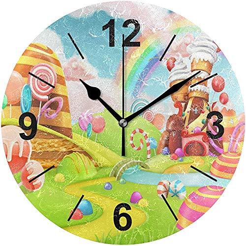 L.Fenn Wandklok, rond, cartoon wereld, snoep, land, diameter stil, decoratief voor thuis, kantoor, keuken, slaapkamer