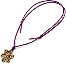 メタトロンキューブ 神聖幾何学模様 木製 ネックレス オリジナル ウッド ペンダント 生命の実 浄化 (パープル)