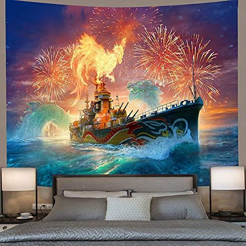JEIBGW Tapiz Tapiz de Castillo psicodélico Dragón Crucero Verano Mar Tapices para Colgar en la Pared para Sala de Estar Toalla de Playa Manta