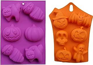 Halloween Theme Mousse Cake Mold DIY 3D Skull Pumpkin Mummy Ice Cream Fondant Chocolate Jelly Silicone Mould Baking Tool Polymer Clay Craft Handmade Soap 6-Cavity Tray 2 Pcs