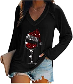Comaba Women's Christmas Slim Fitted V Neck Floral Fall Winter Tees Top
