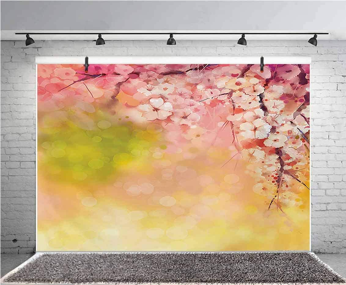 Floral 15x10 FT Vinyl Backdrop PhotographersRetro Blooming Graphic Spring Flowers on Curvy Branches Botanical Garden Theme Background for Party Home Decor Outdoorsy Theme Shoot Props