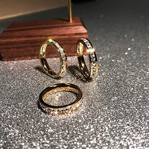 ZNYD Rose Gold Color Luxury Zirconia Anillos para Mujer Hombre Boda Joyería de Acero Inoxidable Evitar alergia (Color : Gold Color, Talla : 6)