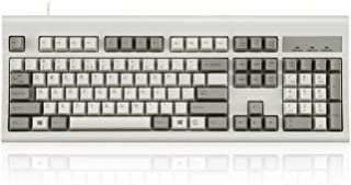 Perixx PERIBOARD-106M, Wired Performance Full-Size USB Keyboard, Curved Ergonomic Keys, Classic Retro Gray/White Color, US...